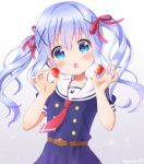 1girl alternate_costume alternate_hairstyle blue_eyes blue_hair blush chestnut_mouth collarbone eyebrows_visible_through_hair food fruit gochuumon_wa_usagi_desu_ka? hair_ribbon holding holding_food holding_fruit kafuu_chino long_hair looking_at_viewer mozukun43 necktie open_mouth red_neckwear red_ribbon ribbon sailor_collar short_sleeves solo strawberry twintails twitter_username wavy_hair