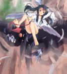 1girl akabane_hibame bare_legs barefoot bird bird_wings black_hair eyebrows_visible_through_hair falling feathered_wings feathers head_wings long_hair looking_at_viewer multicolored_hair no_panties original outdoors outstretched_arm outstretched_hand red_eyes redhead shirt solo twitter_username two-tone_hair white_shirt white_wings wings