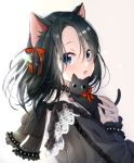 1girl :3 :d animal animal_ear_fluff animal_ears bangs black_cat black_dress black_eyes black_hair blue_eyes cat cat_ears cat_girl commentary_request dress eyebrows_visible_through_hair fang hair_ribbon holding holding_cat lace lace-trimmed_dress long_hair long_sleeves maronie. open_mouth original red_ribbon ribbon simple_background skin_fang slit_pupils smile solo whiskers white_background