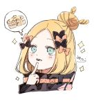1girl abigail_williams_(fate/grand_order) bangs black_bow black_jacket blonde_hair blue_eyes bow cropped_torso fate/grand_order fate_(series) finger_to_mouth food forehead hair_bow hair_bun hand_up heroic_spirit_traveling_outfit highres index_finger_raised jacket long_hair long_sleeves looking_away orange_bow pancake parted_bangs parted_lips signature simple_background sleeves_past_wrists smile sofra solo sparkle spoken_food thought_bubble upper_teeth white_background