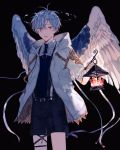 1boy absurdres angel_wings black_background black_shorts blue_hair hand_in_pocket harness highres holding_lantern jacket lantern male_focus nnmy_itp0 open_mouth original red_eyes shorts solo water white_jacket wings