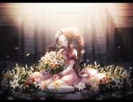 1girl aerith_gainsborough bouquet brown_hair cat_princess dress final_fantasy final_fantasy_vii flower full_body green_eyes lily_(flower) long_hair looking_at_viewer petals pink_dress ponytail sitting smile solo very_long_hair wariza