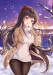 1girl :d absurdres agano_(azur_lane) agano_(dating_game?)_(azur_lane) ahoge aran_sweater arm_behind_back artist_name ass_visible_through_thighs azur_lane bangs bare_tree black_legwear blunt_bangs blurry blurry_background blush bow breasts brown_coat cityscape coat commentary_request cowboy_shot dated depth_of_field dress eyebrows_visible_through_hair fang hair_bow hand_up highres large_breasts long_hair long_sleeves miaoguujuun_qvq open_clothes open_coat open_mouth pantyhose ponytail railing red_bow red_eyes short_dress skin_fang smile snow snowflakes snowing solo sweater sweater_dress thigh_gap thighband_pantyhose tree turtleneck turtleneck_sweater very_long_hair white_dress