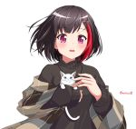 1girl animal animal_ear_fluff bang_dream! bangs black_hair black_sweater blue_eyes blush cat earrings eyebrows_visible_through_hair hair_ornament hairclip highres holding holding_animal holding_cat jewelry kaeru_neko long_sleeves looking_at_viewer mitake_ran multicolored_hair open_mouth redhead shawl short_hair simple_background sleeves_past_wrists solo streaked_hair sweater twitter_username upper_body violet_eyes whiskers white_background white_cat x_hair_ornament