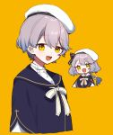 1girl :d bangs beret black_bow bow braid chibi commentary_request cropped_torso eyebrows_visible_through_hair grey_hair hair_between_eyes hair_bow hat long_hair open_mouth orange_background original shirt simple_background smile striped striped_bow white_bow white_headwear white_shirt yamabukiiro yellow_eyes