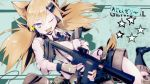 1girl absurdres animal_ears bangs black_legwear blonde_hair blue_eyes bushman_idw cat_ears commentary_request girls_frontline gloves gun hair_between_eyes hair_ornament highres holding holding_weapon idw_(girls_frontline) mineta_naoki necktie one_eye_closed open_mouth shirt shorts solo tail twintails weapon