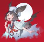 1girl absurdres animal_ears bag bat_ears bat_wings blush brown_hair fangs fingernails hat highres light_blush open_mouth original red_background red_eyes red_neckwear short_hair simple_background smile solo ssangbong-llama teeth tongue upper_body upper_teeth w white_headwear wings