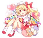 1girl ascot balloon blonde_hair bloomers blush bobby_socks bow bow_legwear commentary_request crystal fang flandre_scarlet frills full_body hair_bow hat heart_balloon holding holding_balloon knees_up looking_at_viewer mob_cap one_side_up open_mouth paragasu_(parags112) puffy_short_sleeves puffy_sleeves red_bow red_eyes red_footwear red_skirt red_vest shirt shoes short_hair_with_long_locks short_sleeves simple_background sitting skirt skirt_set socks solo stuffed_animal stuffed_bunny stuffed_toy teddy_bear touhou underwear vest white_background white_legwear white_shirt wings