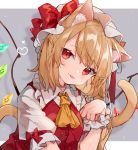 1girl :p animal_ear_fluff animal_ears ascot bangs blonde_hair blush border bow cat_ears cat_tail commentary_request crystal drop_shadow eyebrows_visible_through_hair flandre_scarlet frilled_shirt_collar frills grey_background hand_up hat hat_bow head_tilt highres kemonomimi_mode long_hair looking_at_viewer mob_cap mokyuko one_side_up outside_border paw_pose puffy_short_sleeves puffy_sleeves red_bow red_eyes red_vest shirt short_sleeves smile solo tail tongue tongue_out touhou upper_body vest white_border white_headwear white_shirt wings wrist_cuffs yellow_neckwear
