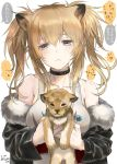 1girl alternate_hairstyle animal animal_ears arknights artist_name bangs bare_shoulders black_choker black_jacket blonde_hair blush breasts brown_eyes candy choker collarbone commentary_request eyebrows_visible_through_hair food fur-trimmed_jacket fur_trim hair_between_eyes holding holding_animal holding_food jacket large_breasts lion lion_cub lion_ears lollipop long_hair long_sleeves looking_at_viewer off_shoulder sidelocks siege_(arknights) speech_bubble tank_top tooka translation_request twintails twitter_username upper_body white_tank_top