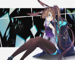 1girl amiya_(arknights) animal_ear_fluff animal_ears anklet arknights artist_name bangs black_jacket black_legwear blue_eyes brown_hair commentary cup feet_out_of_frame grey_background hair_between_eyes holding holding_cup jacket jacket_on_shoulders jewelry long_hair long_sleeves messy_hair neck_ring pantyhose ponytail purple_neckwear rabbit_ears ring shadow shirt sitting solo very_long_hair white_shirt xxinainaxx