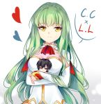 1boy 1girl absurdres bangs blush breasts c.c. chibi closed_mouth code_geass commentary expressionless eyebrows_visible_through_hair gloves green_hair heart highres hug large_breasts lelouch_lamperouge long_hair long_sleeves looking_at_viewer simple_background smile solo thigh-highs upper_body white_background white_gloves yaya_chan yellow_eyes