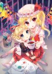 3girls amo ascot blonde_hair blood blood_stain blue_eyes blush bobby_socks bubble_skirt cheek_pinching choker closed_eyes crystal cup daisy diamond-shaped_pupils doily doll dress fang flandre_scarlet flower flower_pot frilled_legwear frilled_shirt_collar frilled_skirt frills hair_ribbon hat hat_ribbon highres holding holding_cup indoors lace looking_at_viewer medicine_melancholy mob_cap multiple_girls no_shoes one_side_up open_mouth paper pinching puffy_short_sleeves puffy_sleeves red_eyes red_ribbon red_skirt ribbon ribbon_trim saucer short_hair short_sleeves side_ponytail sitting sitting_on_lap sitting_on_person skirt socks sparkle su-san symbol-shaped_pupils table teacup teapot touhou trait_connection vampire white_legwear wings wrist_cuffs