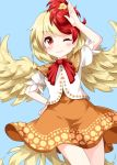 1girl animal_on_head arm_up bird blonde_hair blue_background cardigan chick closed_mouth cowboy_shot dress eyebrows_visible_through_hair feathered_wings hand_on_hip highres multicolored_hair niwatari_kutaka on_head one_eye_closed orange_dress redhead ruu_(tksymkw) short_sleeves simple_background solo tail_feathers touhou two-tone_hair wings yellow_wings
