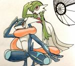 brown_eyes creature full_body gardevoir gen_3_pokemon gen_6_pokemon greninja leaning_forward no_humans pokemon pokemon_(creature) shiwo_(siwosi) simple_background standing white_background