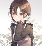 1girl apron bangs black_shirt blush breasts brown_apron brown_eyes brown_hair earrings eyebrows_visible_through_hair gradient gradient_background grey_background hair_between_eyes hand_up highres jewelry long_sleeves looking_at_viewer medium_breasts original parted_lips shirt short_hair solo soyubee upper_body white_background