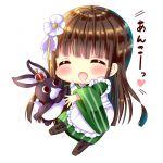 1girl :d ^_^ ama_usa_an_uniform animal anko_(gochiusa) apron bangs blush boots brown_footwear brown_hair chibi chocolat_(momoiro_piano) closed_eyes commentary_request cross-laced_footwear crown eyebrows_visible_through_hair fang flower frilled_apron frills gochuumon_wa_usagi_desu_ka? green_kimono hair_flower hair_ornament heart japanese_clothes kimono lace-up_boots long_hair long_sleeves maid_apron mini_crown open_mouth polka_dot rabbit simple_background smile striped translation_request ujimatsu_chiya uniform vertical-striped_kimono vertical_stripes very_long_hair waitress white_apron white_background white_flower wide_sleeves
