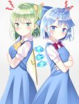 2girls :t annoyed back-to-back bangs blue_dress blue_eyes blue_hair blush bow bowtie cirno cowboy_shot cravat crossed_arms daiyousei dress eyebrows_visible_through_hair fairy_wings from_side green_eyes green_hair grey_background hair_ribbon head_tilt looking_at_viewer multiple_girls nibosisuzu one_side_up pinafore_dress pout puffy_short_sleeves puffy_sleeves red_neckwear ribbon shiny shiny_hair shirt short_hair short_sleeves simple_background standing touhou white_shirt wings yellow_neckwear