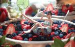 1girl artist_name bangs barefoot berries bikini blackberry_(fruit) blurry blurry_background bowl breasts brown_hair cup depth_of_field drink food frilled_bikini_top fruit green_eyes hair_bun hanbenp highres innertube knee_up leaf leg_up lime_slice looking_at_viewer minigirl open_mouth original raspberry solo spoon strawberry swimsuit waving white_bikini wide_shot