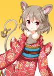 1girl animal_ear_fluff animal_ears basket eyebrows_visible_through_hair floral_print fur-trimmed_kimono fur_trim furisode gradient gradient_background grey_hair highres japanese_clothes kimono leaning_forward looking_at_viewer mouse mouse_ears mouse_tail nazrin obi red_eyes ruu_(tksymkw) sash sleeves_past_wrists smile solo tail touhou yellow_background