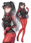 1girl :d alternate_costume ass ass_visible_through_thighs bangs between_fingers black_hair blush bodysuit breasts covered_navel earrings eyebrows_visible_through_hair fate/stay_night fate_(series) full_body gem hair_ornament hand_on_hip highres jewelry long_hair looking_at_viewer multiple_views neon_genesis_evangelion open_mouth parted_bangs parted_lips plugsuit ruby_(gemstone) siino simple_background skin_tight small_breasts smile standing test_plugsuit thigh_gap toosaka_rin two_side_up v-shaped_eyebrows very_long_hair white_background