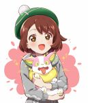 +_+ 1girl :d alternate_color blush brown_eyes brown_hair cardigan gen_8_pokemon green_headwear grey_cardigan hood hood_down hooded_cardigan hug long_sleeves looking_at_viewer mitsuki_meiya open_mouth pink_background pokemon pokemon_(creature) pokemon_(game) pokemon_swsh shiny_pokemon smile tam_o'_shanter two-tone_background upper_body white_background yamper yuuri_(pokemon)