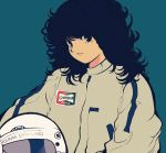 1980s_(style) 1girl bangs black_background black_hair blue_background champion_(company) headwear_removed helmet helmet_removed holding holding_helmet long_hair looking_at_viewer nakamori_akina oldschool pikurusu racing_suit real_life solo