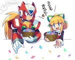 1boy 1girl basket blonde_hair blue_eyes blush closed_mouth confetti eyebrows_visible_through_hair green_ribbon hair_ribbon heart holding holding_basket iroyopon long_hair long_sleeves looking_at_another looking_away medium_hair open_mouth ribbon rockman rockman_(classic) rockman_zero roll short_ponytail smile speech_bubble translation_request upper_teeth very_long_hair zero_(rockman)