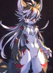 ahoge animal_ears black_background cowboy_shot fang furry grey_hair highres long_hair looking_at_viewer multicolored_hair navel original pawpads red_eyes simple_background solo tail tsuji watermark wolf wolf_ears wolf_tail