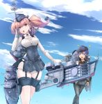 2girls absurdres akatsuki_(kantai_collection) anchor anchor_hair_ornament anchor_symbol atlanta_(kantai_collection) badge black_footwear black_headwear black_legwear black_sailor_collar black_skirt blue_sky boots bra_through_clothes breasts brown_hair cannon clouds day dress_shirt earrings flat_cap garrison_cap garter_straps gloves grey_eyes hair_between_eyes hair_ornament hat headgear high-waist_skirt highres jewelry kantai_collection large_breasts long_hair long_sleeves machinery multiple_girls neckerchief outdoors parted_lips partly_fingerless_gloves pleated_skirt purple_hair red_neckwear rigging sailor_collar school_uniform searchlight serafuku shirt skirt sky smokestack solo sparkle standing standing_on_liquid star star_earrings suspender_skirt suspenders thigh_strap torpedo torpedo_tubes tr-6 turret two_side_up violet_eyes water wet white_gloves white_shirt