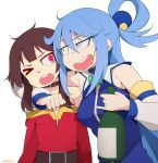>_o 2girls @_@ absurdres aqua_(konosuba) artist_name bare_shoulders belt blue_hair bottle breasts brown_belt brown_hair choker collarbone eyebrows_visible_through_hair highres holding holding_bottle kono_subarashii_sekai_ni_shukufuku_wo! long_hair looking_at_another medium_breasts megumin multiple_girls once_11h one_eye_closed open_mouth red_eyes upper_teeth