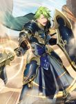 1boy aran_(fire_emblem) armor armored_boots boots cape dessert fire_emblem fire_emblem:_radiant_dawn fire_emblem_cipher food gloves green_eyes green_hair kyo_niku official_art open_mouth polearm shield solo spear teeth weapon