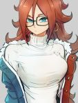 1girl android_21 black-framed_eyewear blue_eyes breasts dragon_ball dragon_ball_fighterz earrings glasses grey_background hair_between_eyes hoop_earrings jewelry kemachiku large_breasts long_hair looking_at_viewer redhead simple_background solo sweater turtleneck turtleneck_sweater white_sweater