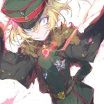1girl arms_behind_back bangs belt black_coat blonde_hair blue_eyes brown_belt coat crazy_eyes crazy_grin dutch_angle green_headwear hat jacket_on_shoulders jewelry long_sleeves looking_at_viewer medal messy_hair military military_hat military_uniform peaked_cap pendant pulp_piroshi short_hair solo sparkle standing tanya_degurechaff uniform wind youjo_senki