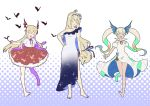 :d bare_legs bare_shoulders barefoot bat blonde_hair breasts dress flower granblue_fantasy hair_flower hair_ornament io_(granblue_fantasy) jeanne_d'arc_(granblue_fantasy) long_hair mifuta open_mouth smile twintails vampy very_long_hair