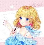 1girl absurdres bangs bare_shoulders blonde_hair blue_eyes blue_shirt blush bow bow_earrings commentary_request eyebrows_visible_through_hair fingernails floral_print hair_ornament hands_up heart heart_hair_ornament highres holding long_sleeves looking_at_viewer looking_to_the_side miyo_(user_zdsp7735) nail_polish off-shoulder_shirt off_shoulder original parted_lips pearl_hair_ornament print_shirt puffy_long_sleeves puffy_sleeves purple_bow purple_nails shirt solo star upper_body upper_teeth