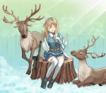 1girl animal belt black_footwear blonde_hair blue_hairband blue_jacket blue_skirt closed_eyes commentary_request deer girls_frontline gloves gun hair_ornament hairband highres jacket long_hair long_sleeves numazume open_mouth sitting skirt snow snowflake_hair_ornament submachine_gun suomi_kp/-31 suomi_kp31_(girls_frontline) thigh-highs tree_stump weapon white_gloves white_legwear