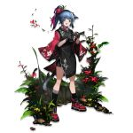 1girl :d alternate_costume animal_ears arknights asymmetrical_legwear bangs bike_shorts black_gloves black_kimono black_legwear black_shorts blue_hair blush cat_ears cat_tail eyebrows_visible_through_hair fingerless_gloves floral_print flower full_body gloves green_eyes gun hair_flower hair_ornament hair_stick handgun heibaise_jiangshi highres holding holding_gun holding_weapon japanese_clothes jessica_(arknights) kimono kneehighs long_hair long_sleeves looking_at_viewer multicolored_hair official_art open_mouth pistol ponytail purple_hair red_flower red_footwear shoes short_kimono short_shorts shorts single_kneehigh smile sneakers socks solo standing tail transparent_background weapon wide_sleeves