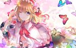 1girl alice_margatroid bangs blonde_hair blue_dress blue_eyes bow bowtie bright_pupils bug butterfly capelet cherry_blossoms commentary_request dress earrings eyebrows_visible_through_hair flower frilled_skirt frilled_sleeves frills hair_bow hair_flower hair_ornament hairband insect jewelry kazu_(muchuukai) lolita_hairband long_hair long_sleeves looking_at_viewer medium_hair neck_ribbon one_eye_closed partial_commentary red_neckwear ribbon shanghai_doll skirt smile solo spring_(season) stud_earrings touhou upper_body white_capelet white_pupils wrist_flower