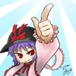 1girl avatar_icon black_headwear bow chamaji commentary_request eyebrows_visible_through_hair frilled_shawl frills hat hat_bow hat_ribbon index_finger_raised light_rays long_sleeves lowres nagae_iku partial_commentary purple_hair red_eyes ribbon shawl signature smile solo touhou white_background