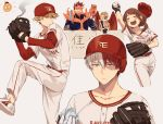 1girl 4boys bakugou_katsuki baseball baseball_cap baseball_mitt baseball_uniform blonde_hair blue_eyes blush_stickers boku_no_hero_academia brown_hair burn_scar closed_eyes fire goggles_on_eyes grey_eyes hat hawks_(boku_no_hero_academia) heterochromia highres ice liyuchen1126 multicolored_hair multiple_boys open_mouth red_eyes red_wings redhead scar smile sportswear todoroki_enji todoroki_shouto two-tone_hair uraraka_ochako white_hair wings