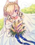 1girl alpaca_ears alpaca_girl alpaca_suri_(kemono_friends) alternate_costume animal_ears bare_shoulders blonde_hair blue_eyes blush bouquet bridal_veil commentary_request dress elbow_gloves eyebrows_visible_through_hair flower gloves gold_necklace hair_bun hair_over_one_eye hair_tubes highres kemono_friends laurel_crown looking_at_viewer noamem short_hair sleeveless sleeveless_dress smile solo veil wedding_dress white_dress white_gloves wreath