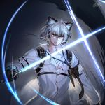 1boy animal_ears arknights armband artist_name bangs black_gloves canata_katana clenched_teeth commentary_request energy_sword gloves grey_background grey_eyes hair_between_eyes highres holding holding_sword holding_weapon leopard_ears lightsaber long_sleeves male_focus scar shirt signature silver_hair silverash_(arknights) sword teeth upper_body weapon white_shirt
