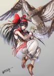 1girl ainu_clothes azuma_kyoutarou_(artist) bird black_hair hair_ribbon highres long_hair mamahaha nakoruru ribbon samurai_spirits sword talons weapon wings