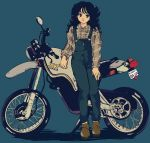 1980s_(style) 1girl black_hair blue_background breasts flat_chest full_body ground_vehicle highres leaning_against_motorcycle loafers long_hair medium_breasts motor_vehicle motorcycle nakamori_akina oldschool overalls oversized_clothes pikurusu plaid plaid_shirt real_life shirt shoes solo yamaha yamaha_xt