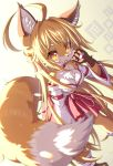1girl 2020 ahoge animal_ears blonde_hair blush breasts chromatic_aberration fox fox_ears fox_tail furry highres japanese_clothes long_hair looking_at_viewer miko new_year original pawpads solo tail tongue tongue_out tsuji watermark yellow_eyes