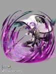 1boy cape copyright_name eden_fantasia full_body gloves grey_background holding holding_staff long_sleeves looking_at_viewer magic_circle male_focus motion_blur official_art purple_hair ran_(artist) solo staff standing white_cape white_gloves