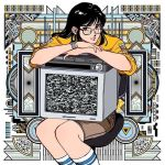 1girl abstract_background bangs black_eyes black_hair brown_shorts chair commentary_request feet_out_of_frame glasses long_hair long_sleeves original shirt shorts sitting smile socks solo static television white_legwear yellow_shirt yoshitake_yamane