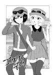 1boy 1girl absurdres blush hat highres mokorei monochrome open_mouth pokemon pokemon_special short_hair skirt sleeveless x_(pokemon) y_na_gaabena