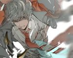 1boy animal_ears bangs blood blood_on_face clenched_teeth collared_shirt erune granblue_fantasy grey_jacket hair_between_eyes jacket male_focus necktie nehan_(granblue_fantasy) shirt silver_hair solo suou teeth white_background white_shirt
